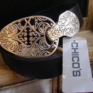 Chico's black Leather Statement Belt Silver buckle